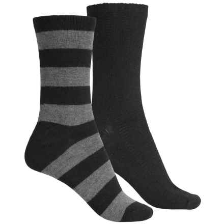 ECCO Casual Socks - 2-Pack, Crew (For Women) in Black/Grey Wide Stripe - Closeouts