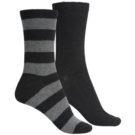 ECCO Casual Socks - 2-Pack, Crew (For Women) in Black/Grey Wide Stripe