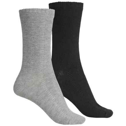 ECCO Casual Socks - 2-Pack, Crew (For Women) in Gray/Black - Closeouts