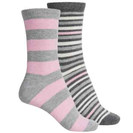 ECCO Casual Socks - 2-Pack, Crew (For Women) in Light Grey/Pink Wide Stripe - Closeouts