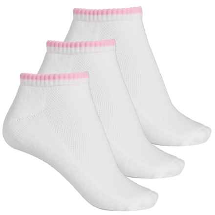 ECCO Color-Tipped No-Show Socks - 3-Pack, Below the Ankle (For Women) in Pink - Closeouts