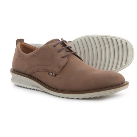 ECCO Contoured Plain-Toe Oxford Shoes - Nubuck (For Men) in Cocoa Brown