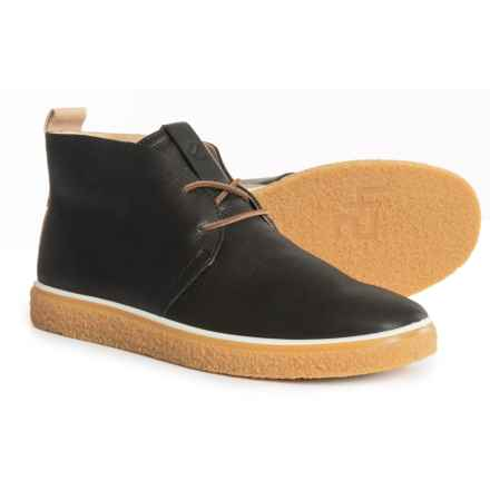 ECCO Crepe Tray Chukka Boots - Leather (For Men) in Black/Powder - Closeouts