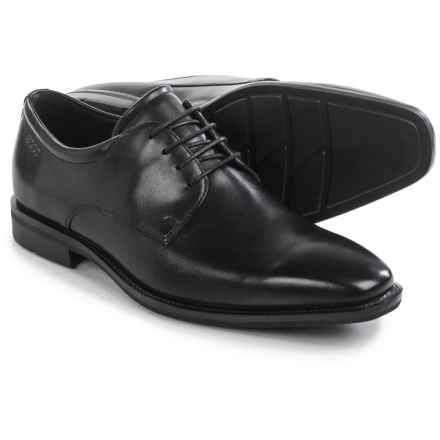 ECCO Faro Plain-Toe Derby Shoes - Leather (For Men) in Black - Closeouts