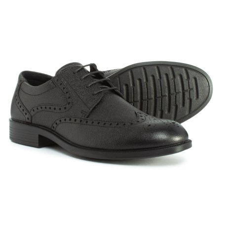 ECCO Harold Tie Wingtip Oxford Shoes - Leather (For Men) in Black Pebble