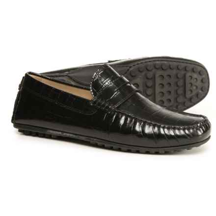 ECCO Hybrid Driving Moccasins - Leather (For Men) in Black Croco Print - Closeouts