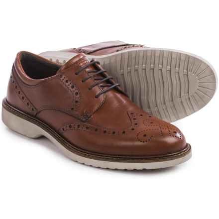 ECCO Ian Wingtip Shoes - Leather (For Men) in Cognac - Closeouts