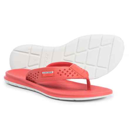 ECCO Intrinsic Toffel Flip-Flops - Leather (For Women) in Coral Blush Toffel - Closeouts