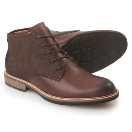 ECCO Kenton Leather Boots - Round Toe (For Men) in Mink/Mocha - Closeouts