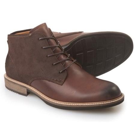 ECCO Kenton Leather Boots - Round Toe (For Men) in Mink/Mocha
