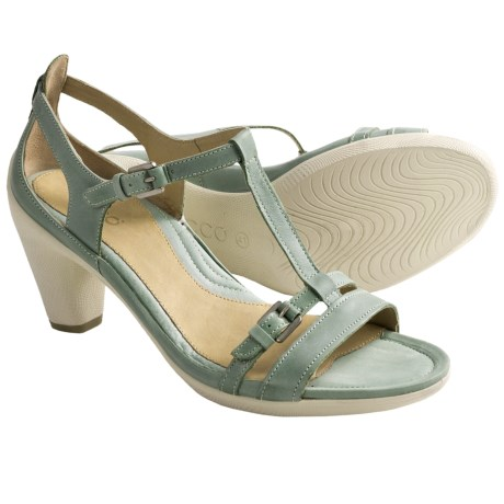 ECCO Sculptured 65 T-Strap Sandals - Leather (For Women) in Ice Flower