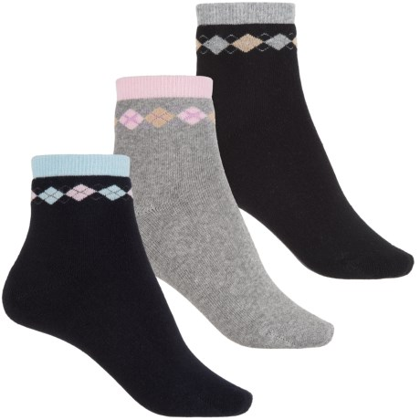 ECCO Small Argyle Cushion Socks - Ankle, 3-Pack (For Women) in Black/Navy/Grey