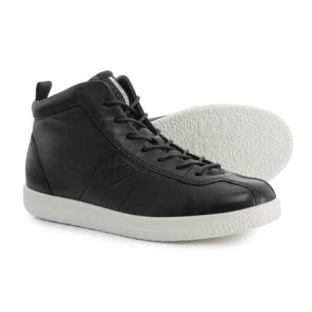ECCO Soft 1 High-Top Sneakers - Leather (For Women) in Black Droid - Closeouts