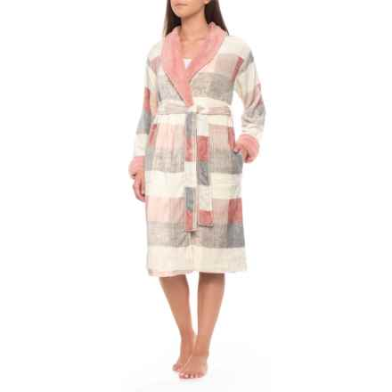 Echo Microlight Shawl Collar Robe - Long Sleeve (For Women) in Pink Plaid - Closeouts