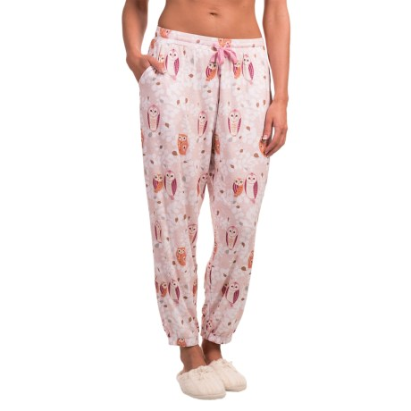 Echo Printed Lounge Pants (For Women) in Pink Owl