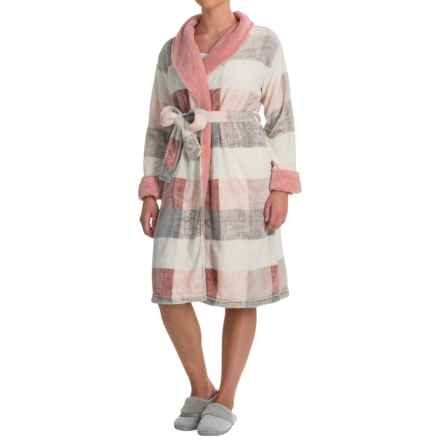 Echo Sherpa Trim Plush Microfleece Robe - Long Sleeve (For Women) in Pink/Grey Plaid - Closeouts
