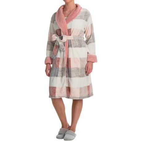 Echo Sherpa Trim Plush Microfleece Robe - Long Sleeve (For Women) in Pink/Grey Plaid