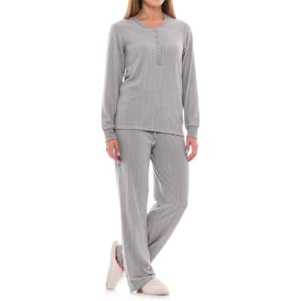 Echo Solid Cable-Textured Pajamas - Long Sleeve (For Women) in Grey - Closeouts