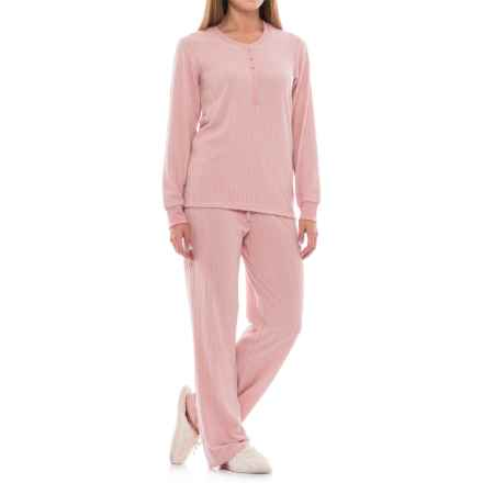 Echo Solid Cable-Textured Pajamas - Long Sleeve (For Women) in Pink - Closeouts