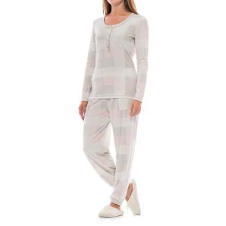 Echo Waffled Checker Pajamas - Long Sleeve (For Women) in Pink/Grey Plaid - Closeouts