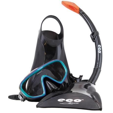 ECO Black Tip Silicone Snorkeling Set - 3-Piece in Black/Emerald