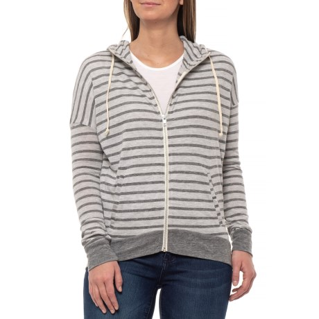 Eco Grey Riviera Stripe Yarn-Dye Cool Down Hoodie (For Women)