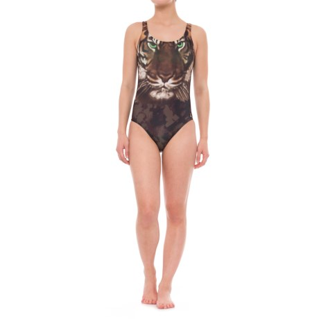 Eco Peace Jungle Jam Elle U-Back One-Piece Swimsuit (For Women) in Brown