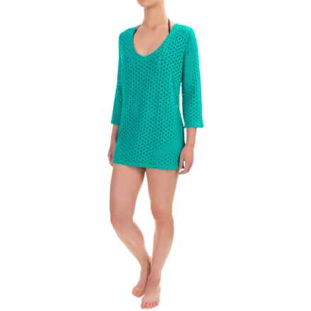 Eco Swim Cutout Cover-Up - Organic Cotton, 3/4 Sleeve (For Women) in Surf - Closeouts