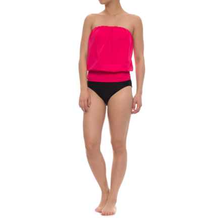 Eco Swim Gathered Blouson Halter Bikini Set (For Women) in Hot Pink - Closeouts