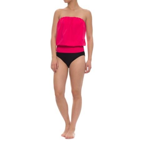 Eco Swim Gathered Blouson Halter Bikini Set (For Women) in Hot Pink