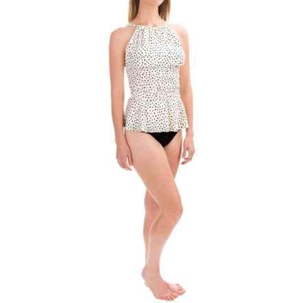 Eco Swim Gathered Tankini Top (For Women) in Cream/Black Polka Dots - Closeouts