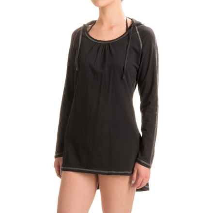 Eco Swim Hooded Swimsuit Cover-Up - Organic Cotton, Long Sleeve (For Women) in Black - Closeouts