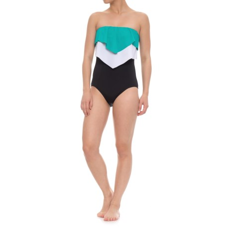 Eco Swim Layered Ruffle Bandeau One-Piece Swimsuit (For Women) in Teal