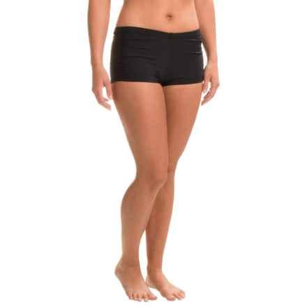 Eco Swim Shirred Side Bikini Bottoms (For Women) in Black - Closeouts