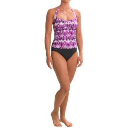 Eco Swim Twist One-Piece Swimsuit - Molded Cups, Halter Strap (For Women) in Purple/Black - Closeouts