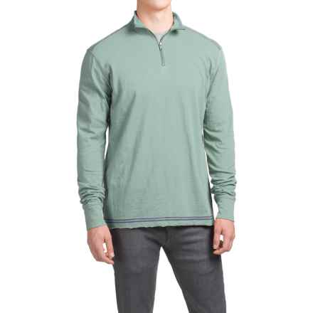 Ecoths Black Rock Shirt - Organic Cotton, Zip Neck, Long Sleeve (For Men) in Silver Blue - Closeouts