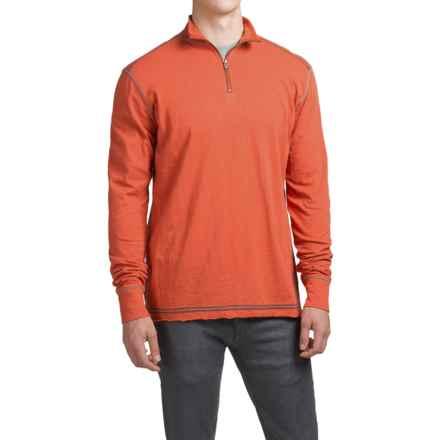 Ecoths Black Rock Shirt - Organic Cotton, Zip Neck, Long Sleeve (For Men) in Tabasco - Closeouts