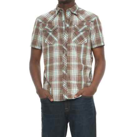 Ecoths Donovan Organic Cotton Plaid Shirt - Snap Front, Short Sleeve (For Men) in Brindle - Closeouts
