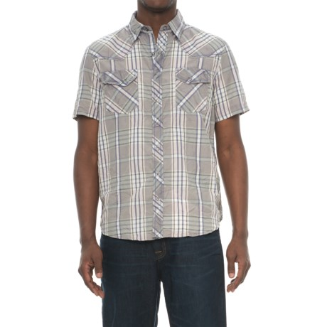 Ecoths Donovan Organic Cotton Plaid Shirt - Snap Front, Short Sleeve (For Men) in Griffin Grey