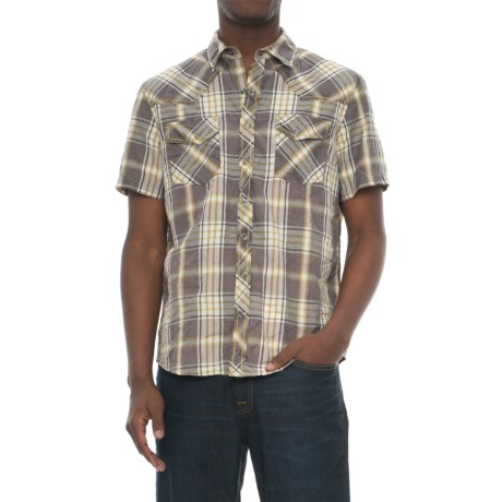 Ecoths Donovan Organic Cotton Plaid Shirt - Snap Front, Short Sleeve (For Men) in Smoked Pearl