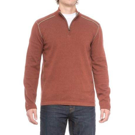 Ecoths Noah Sweater - Organic Cotton, Zip Neck (For Men) in Henna