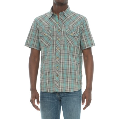 Ecoths Phoenix Plaid Shirt - Organic Cotton, Short Sleeve (For Men) in Agave Green