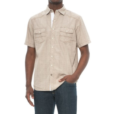 Ecoths Somersett Organic Cotton Shirt - Snap Front, Short Sleeve (For Men) in Brindle