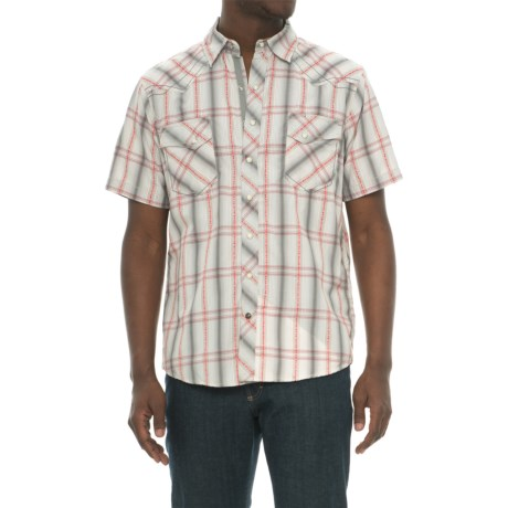 Ecoths Waylon Organic Cotton Plaid Shirt - Snap Front, Short Sleeve (For Men) in Griffin Grey