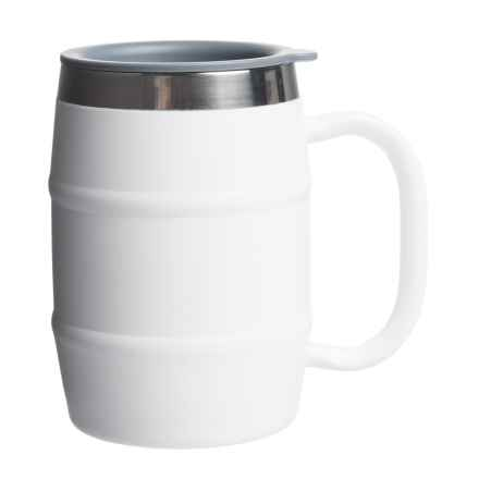 EcoVessel Double-Barrel Insulated Mug - 16 fl.oz., Stainless Steel in Whiteout - Closeouts