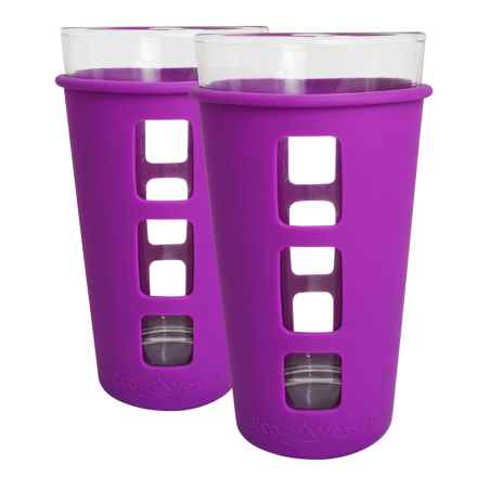 EcoVessel The Vibe Pint Glass Set with Silicone Sleeves - 2-Pack, 16 fl.oz. in Purple - Closeouts