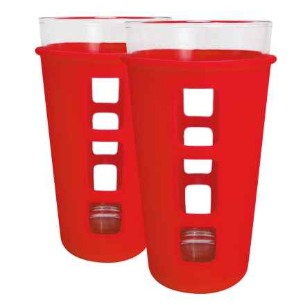 EcoVessel The Vibe Pint Glass Set with Silicone Sleeves - 2-Pack, 16 fl.oz. in Red - Closeouts