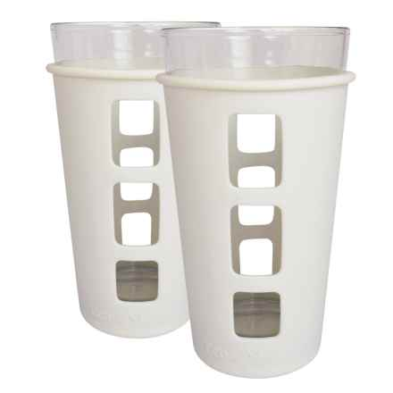 EcoVessel The Vibe Pint Glass Set with Silicone Sleeves - 2-Pack, 16 fl.oz. in White - Closeouts
