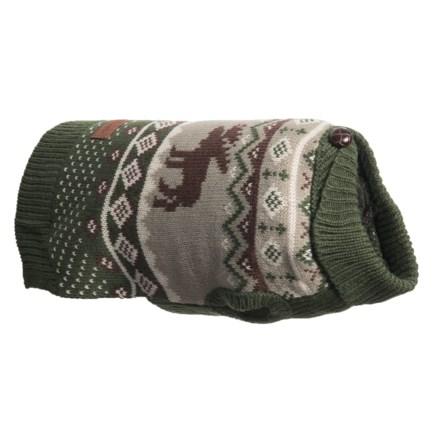 b8e44dc44e553 Eddie Bauer Moose Fair Isle Dog Sweater - Small in Green - Closeouts