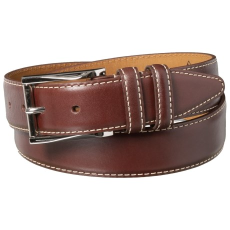 Edge-Stitched Double-Loop Leather Dress Belt (For Men)